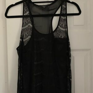 Black lace razor back see-through tank top